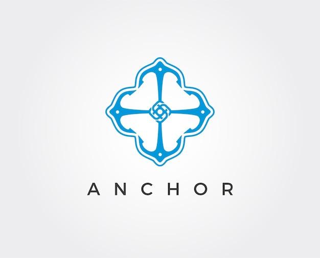 Einfaches mono line art ankerboot schiff nautisches logo