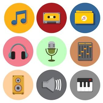 Einfaches musikalisches symbol-ikonen-vektor-illustrations-grafik-set