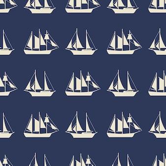 Einfaches musterdesign des segelboots oder der schiffe nahtloses