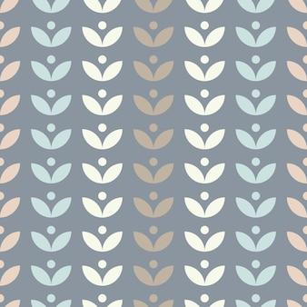 Einfaches nahtloses blumenmuster mit blättern im skandinavischen stil