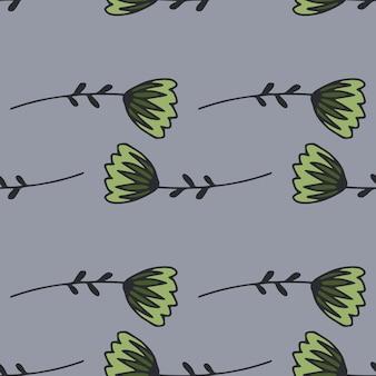 Einfaches nahtloses blumenmuster mit grünen umriss-tulpenblumen.