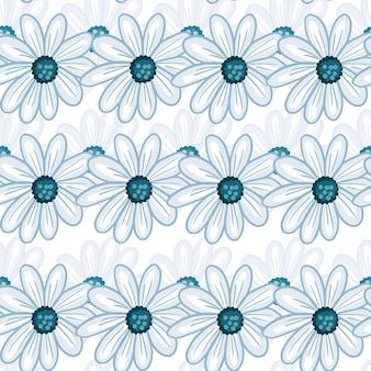 Einfaches nahtloses mit blumenmuster mit blauem konturiertem gänseblümchen-blumendruck. weißer hintergrund. handgezeichneter stil. abbildung auf lager. vektordesign für textilien, stoffe, geschenkpapier, tapeten.