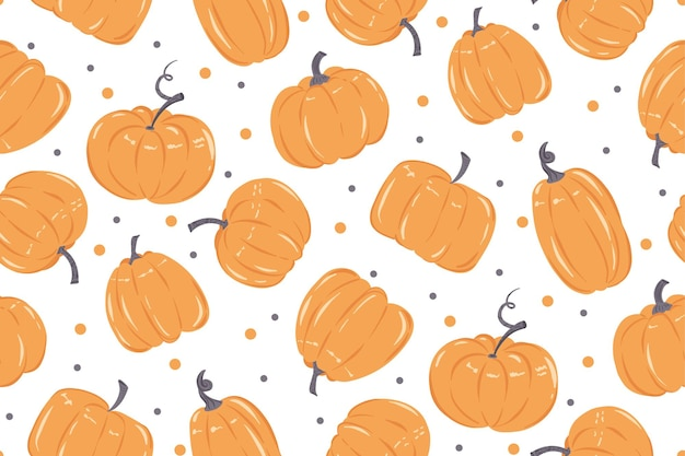 Einfaches nahtloses muster mit orangefarbenen kürbissen auf weißem hintergrund