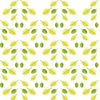 Einfaches nahtloses muster von grünem und von gelb verlässt auf weiß.