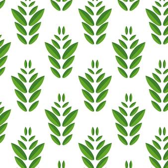 Einfaches nahtloses muster von grünen blättern auf weiß.