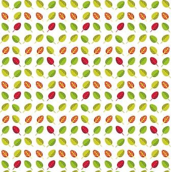 Einfaches nahtloses muster von grünen, orange, roten und purpurroten blättern