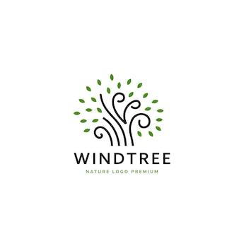 Einfaches natur-windbaum-logo in dünnen linien mit text unter der vorlage