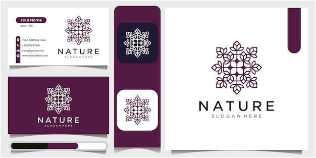 Einfaches naturblatt-ornament-logo-design-blumenlogo