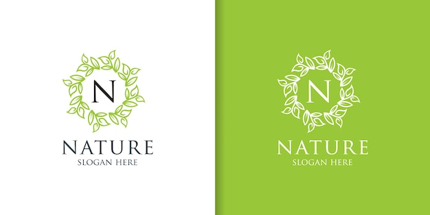 Einfaches naturblatt-ornament-logo-design