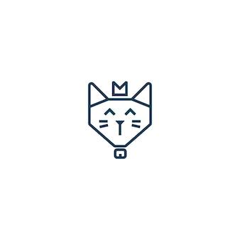 Einfaches nettes glückliches königkatzengesicht trägt krone monoline logoemblem-abzeichen