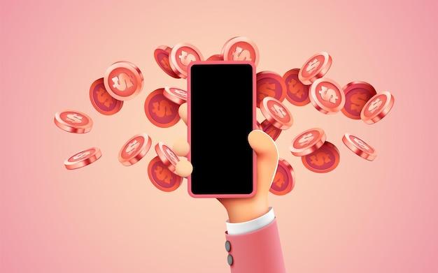 Einfaches online-zahlungskonzept mit cartoon-d-handtelefon- und münzgeschäft und geld-online-einnahmen