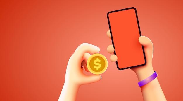 Einfaches online-zahlungskonzept mit cartoon-d-handtelefon- und münzgeschäft und geld-online-shopping