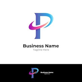 Einfaches p-logo mit swoosh-form