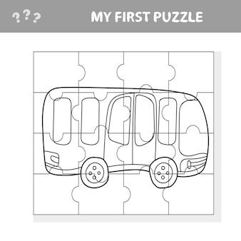 Einfaches pädagogisches papierspiel für kinder. einfaches kinderpuzzle mit toy bus - mein erstes puzzle- und malbuch