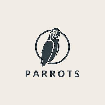 Einfaches papageienlogo mit weinlesestil