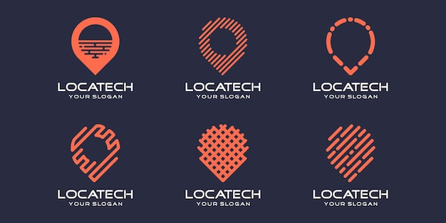 Einfaches pin-location-icon-set, pin kombiniertes element digital oder daten. logo-design-vorlage