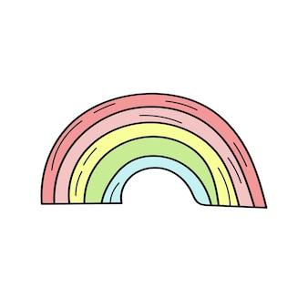 Einfaches regenbogen-doodle-symbol. einfache hand gezeichnete regenbogenikone auf weiß