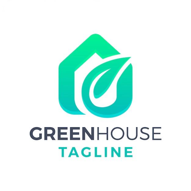 Einfaches sauberes modernes 3d-farbverlaufslogo des grünen öko-blatthauses