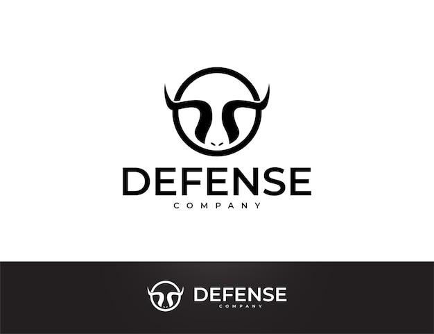 Einfaches schwarzes stierhorn-logo-design
