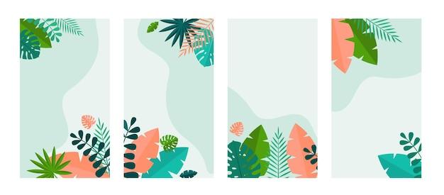 Einfaches set aus tropischen palmen und monstera-blättern.