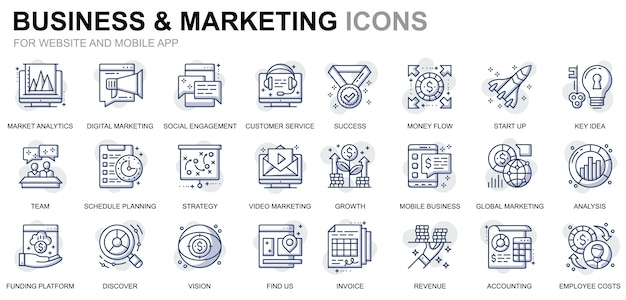 Einfaches set business und marketing line icons für website und mobile apps
