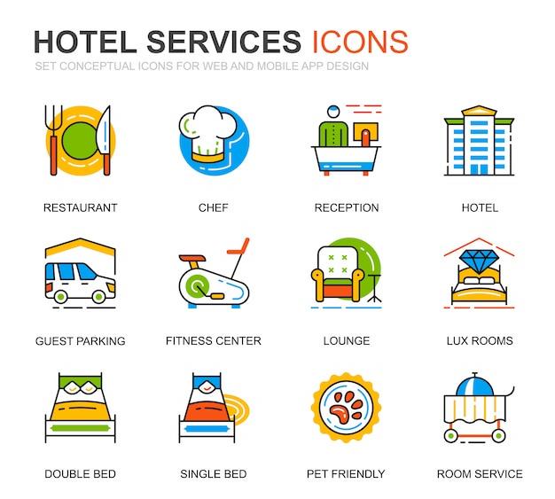 Einfaches set hotel service line icons für website