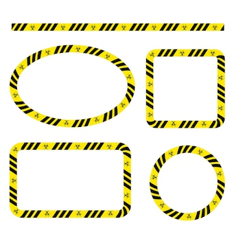 Einfaches set vector oval, rechteck, kreis, quadratische polizeilinie, rahmen für ihr element-design