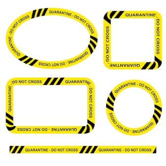 Einfaches set vektoroval, rechteck, kreis, quadratische polizeilinie, quarantäne, rahmen für ihr elementdesign nicht überqueren, auf transparentem effekthintergrund
