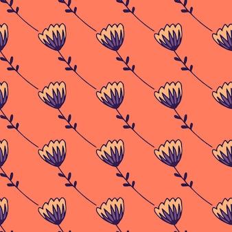 Einfaches stilisiertes nahtloses muster mit abstrakten tulpenfiguren. blaue blumenverzierung auf korallenhintergrund.