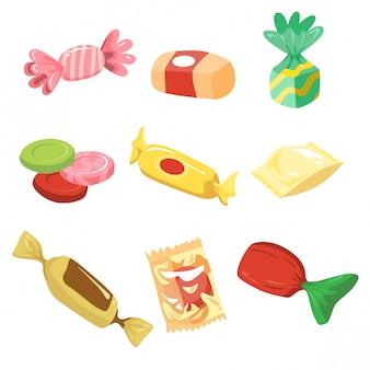 Einfaches süßigkeitsillustrationsset