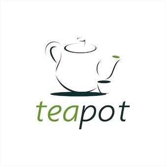 Einfaches teekannenlogo für getränke und getränke