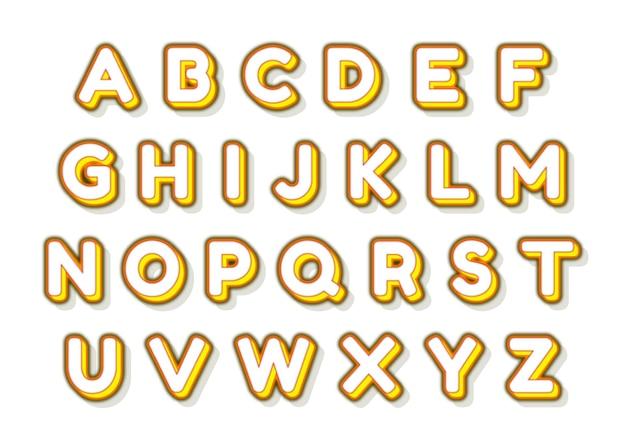 Einfaches und lustiges gelbes alphabetset