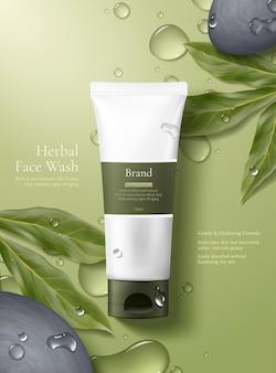 Einfaches und natürliches hautpflegekonzept produktmodell auf grünem hintergrund mit tau gelegt