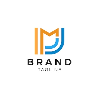 Einfaches und sauberes buchstaben-m- und j-initialen-logo