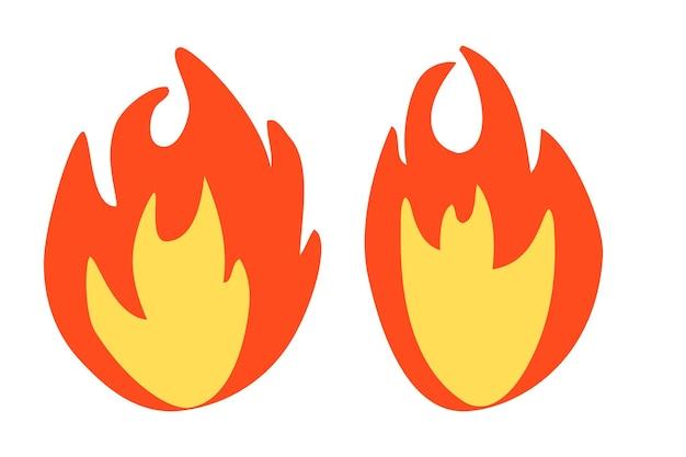 Einfaches vektorfeuer oder brennbares zeichen, isoliert auf weiß