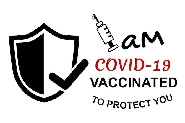 Einfaches vektorzitat, ich bin covid 19 geimpft, um sie zu schützen