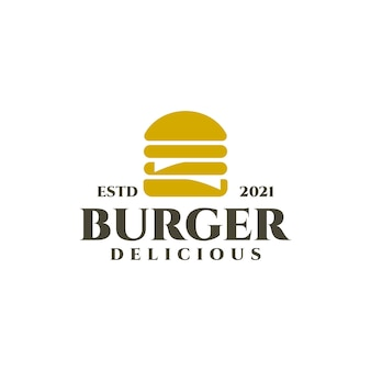 Einfaches vintage-logo eines burger-restaurants, cafés, bistros.