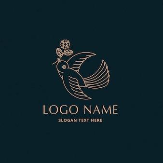 Einfaches vogelfliegenlinien-logo-konzept