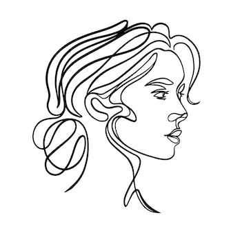 Einfaches weibliches strichkunstporträt