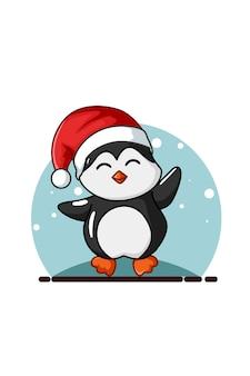 Einfaches weihnachtsthema des pinguinkarikatur