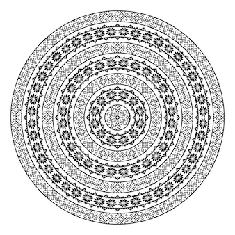 Einfarbige ethnische nahtlose texturen. runde dekorative vektorform getrennt auf weiß. orientalischer arabeskenmusterhintergrund. vektorillustration in den schwarzweiss-farben.