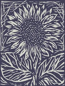 Einfarbige sonnenblume gravieren karikatur-art-illustration