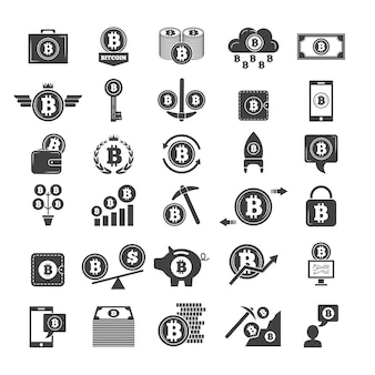Einfarbige symbole des virtuellen geldes. elektronische blockchain-industrie. webmappen und andere ikonen des kryptogeschäfts