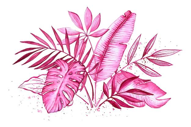 Einfarbige tropische blätter