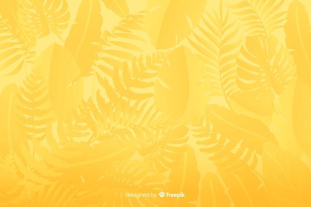 Einfarbiger gelber hintergrund mit blättern