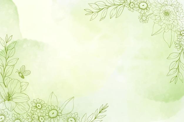 Einfarbiger handgemalter hintergrund mit gezeichneten naturelementen