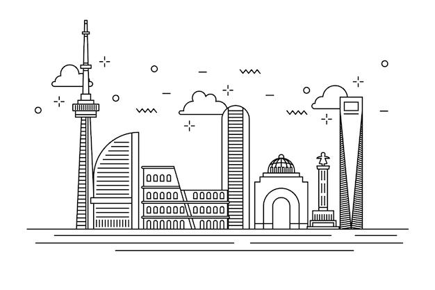 Einfarbiges entwurfsmarkstein-skylinekonzept