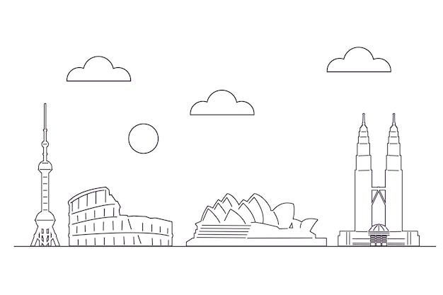 Einfarbiges entwurfsmarkstein-skylinethema