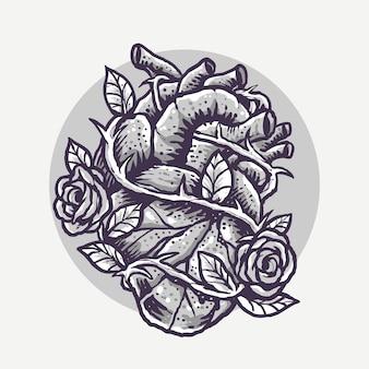 Einfarbiges herz und rosen gravieren karikatur-illustration