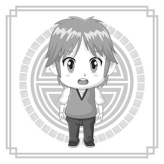 Einfarbiges japanisches symbol mit gesichtsausdruck des schattenbildanime-jugendlichen verwirrt